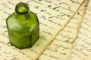 Manoscritto e calamaio